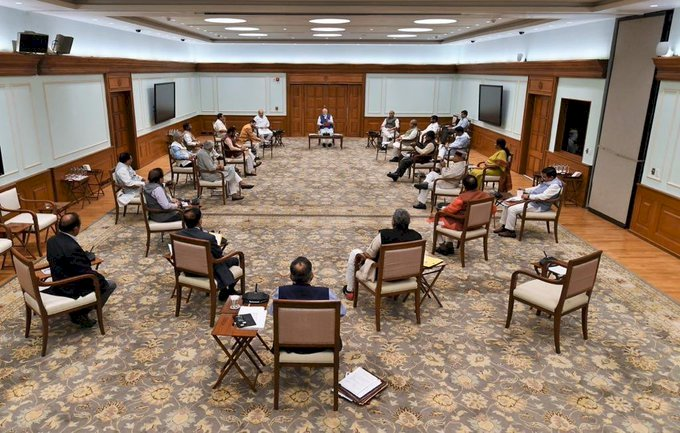 PM Modi and ministers practices social distancing  at  Cabinet meet