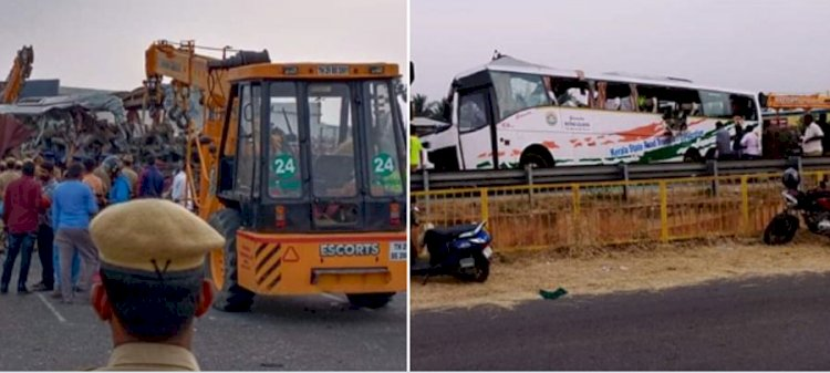 19 people died in Tamilnadu Road accident as Kerala Bus collides with truck in Tirupur